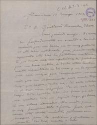 """Carta de Miguel Vila Piqué a Guillermo Fernández Shaw, notificándole algunos cambios en la obra """"Mimi Pinsón""""."""