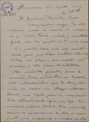 """Carta de Miguel Vila Piqué a Guillermo Fernández Shaw, mandándole la mazurca rehecha de la obra """"Mimi Pinsón""""."""