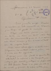"""Carta de Miguel Vila Piqué a Guillermo Fernández Shaw, comentando un telegrama que ha recibido y su respuesta, referente a """"Mimi Pinsón"""" y carta de Jorge Castelll a Miguel Vila Piqué aclarando dicho telegrama."""