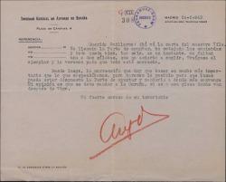 """Carta a Guillermo Fernández Shaw, con membrete de la Sociedad General de Autores de España, hablando sobre las correcciones que hay que hacer en las copias de """"Mimi Pinsón""""."""
