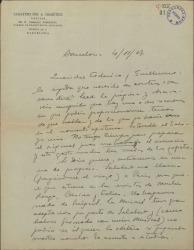 Carta de Eduardo Granados a Guillermo Fernández-Shaw y Federico Romero, sobre temas teatrales y un posible viaje a Paris.