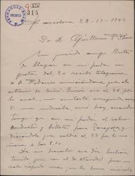 """Carta de Miguel Vila Piqué a Guillermo Fernández Shaw, sobre el estreno de """"Mimi Pinsón"""" en Zargoza al que asistirá."""