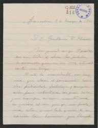 Carta de Miguel Vila Piqué a Guillermo Fernández Shaw, agradeciéndole el pésame por la muerte de su madre.