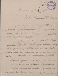 Carta de Miguel Vila Piqué a Guillermo Fernández Shaw, lamentándose de que el género flamenco haya invadido los escenarios y dando noticias de su vida.