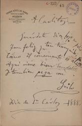 Cartas de Antonio Grilo a Carlos Fernández Shaw.