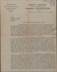 Carta de Fernando Jaumandreu Obradors a Federico Romero y Guillermo Fernández-Shaw, pidiéndoles un libro lírico al que poder ponerle la música.