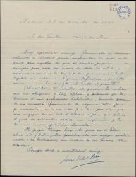 Carta de Juan Vidal Roda a Guillermo Fernández-Shaw, recordándole su ofrecimiento de mandarle una letra para que él le ponga música.