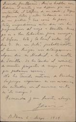 Tarjeta postal de Jesús Guridi a Guillermo Fernández-Shaw, poniéndole al corriente de sus planes de viaje.