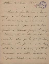 """Carta de Jesús Guridi a Guillermo Fernández-Shaw, sobre la representación en América de la obra """"La meiga""""."""