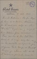 """Carta de Jesús Guridi a Federico Romero, a punto de emprender viaje a Buenos Aires, donde se van a representar """"El caserío"""" y """"La meiga""""."""
