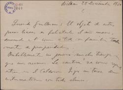 Carta de Jesús Guridi a Guillermo Fernández-Shaw, felicitándole el año nuevo y hablando de reposiciones de obras de ambos.