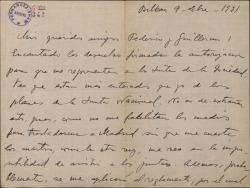 Carta de Jesús Guridi a Guillermo Fernández-Shaw y Federico Romero, refiriéndose a una junta de la Sociedad de Autores.