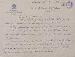 Carta de Jesús Guridi a Guillermo Fernández-Shaw, agradeciéndole una felicitación.