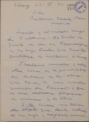 Carta de Gerardo Gombau a Guillermo Fernández-Shaw, diciéndole que ha visto en Copenhague a su hijo Carlos y pidiéndole un libro para musicarlo.