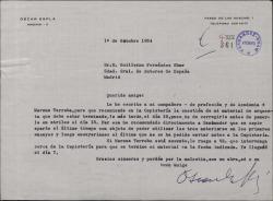 Carta de Oscar Esplá a Guillermo Fernández-Shaw, pidiéndole le ayude en copisteria de la Sociedad General de Autores de España para agilizar la copia de una obra que necesita para ensayar.
