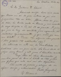Carta de Pablo Sorozábal a Guillermo Fernández-Shaw, expresando su agradecimiento por haberle ofrecido un libreto para que le haga la música.