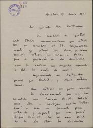 """Carta de Narcis Bonet a Guillermo Fernández-Shaw, lamentando no estar en Barcelona cuando él llegue y hablando de """"Altisidora"""", obra en la que colaboran."""