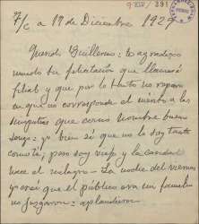 Carta de Emilio Serrano a Guillermo Fernández-Shaw, agradeciéndole su felicitación con motivo de un concierto-homenaje.