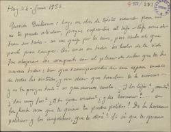 Carta de Emilio Serrano a Guillermo Fernández-Shaw, expresándole su afecto.