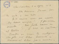 Carta de Jacinto Guerrero a Federico Romero, agradeciéndo su carta y comentándole su inmediato viaje a París.