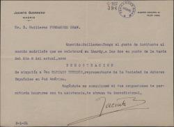 Carta de Jacinto Guerrero a Guillermo Fernández-Shaw, invitándole a un almuerzo-homenaje.