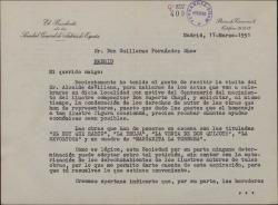 Carta de Jacinto Guerrero a Guillermo Fernández-Shaw, solicitando su colaboración para preparar un homenaje al maestro Chapí.
