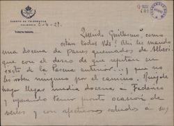 Carta de Leopoldo Magenti a Guillermo Fernández-Shaw, anunciándole el envío de un regalo.