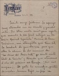 Carta de Leopoldo Magenti a Guillermo Fernández-Shaw, haciéndole un encargo en relación con la Unión Musical Española.