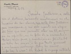 Carta de Leopoldo Magenti a Guillermo Fernández-Shaw, felicitándole por su onomástica y quejándose de la censura contra sus revistas.