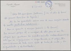 Carta de Leopoldo Magenti a Guillermo Fernández-Shaw, felicitándole por una foto suya que ha visto en la prensa.