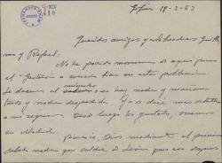 """Carta de Jesús Romo a Guillermo y Rafael Fernández-Shaw, dando noticias del éxito de la obra """"El gaitero de Gijón""""."""
