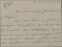 Carta de Jesús Romo a Guillermo y Rafael Fernández-Shaw, con comentarios sobre el próximo estreno en Barcelona de una obra y sobre las representaciones en la misma ciudad de otras obras suyas.