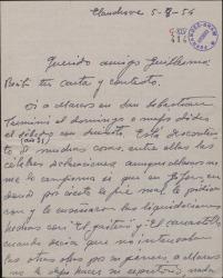 Carta de Jesús Romo a Guillermo Fernández-Shaw, con comentarios sobre Sagi-Vela y Marcos Redondo y otros asuntos teatrales.