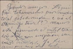 Tarjeta postal de Jesús Romo a Guillermo y Rafael Fernández-Shaw, dando cuenta del éxito de su gira teatral.