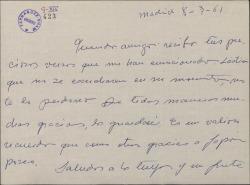 Carta de Jesús Romo a Guillermo Fernández-Shaw, agradeciéndole unos versos que le ha enviado.