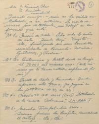 Carta de Ernesto Lecuona a Guillermo Fernández-Shaw, dándole amplios detalles sobre la revista musical que están haciendo en colaboración.