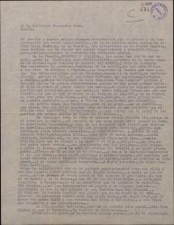 Carta de Ernesto Lecuona a Guillermo Fernández-Shaw, contándole su fracaso con la compañia de la Zuffoli.