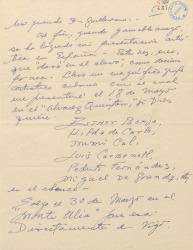 Carta de Ernesto Lecuona a Guillermo Fernández-Shaw, anunciándole su próxima presentación artística en España.
