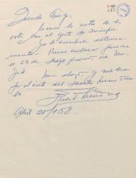 Carta de Ernesto Lecuona a Guillermo Fernández-Shaw, dando la fecha de inicio de su viaje a España y prometiendo una carta más extensa.