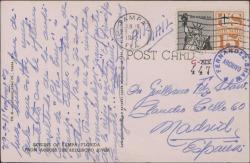 """Tarjeta postal de Ernesto Lecuona a Guillermo Fernández-Shaw, contento con el resultado de la audición de """"Lola Cruz"""" y pidiéndole noticias suyas."""