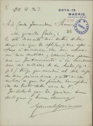 Cartas de Manuel Soriano a Carlos Fernández Shaw.