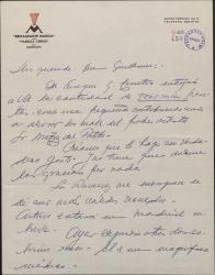 Carta de Ernesto Lecuona a Guillermo Fernández-Shaw, anunciándole el envío de un donativo para un artista.