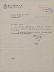 """Carta de Roberto Plá a Guillermo Fernández-Shaw, agradeciendo el envió de la documentación para la presentación del disco de """"Luisa Fernanda"""", recientemente grabado."""