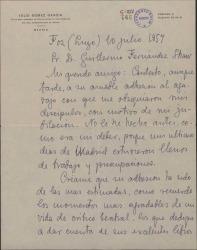Carta de Julio Gómez García a Guillermo Fernández-Shaw, agradeciéndole la adhesión al homenaje que le ofrecieron sus discípulos.