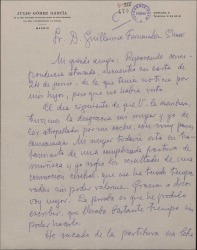 Carta de Julio Gómez García a Guillermo Fernández-Shaw, explicando su retraso en contestar por un accidente, y remitiéndole la composición de Carlos Fernández Shaw que le había pedido.