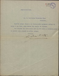 """Carta de Amadeo Vives a Guillermo Fernández-Shaw, citándole para hablar de un asunto relacionado con """"Colomba""""."""