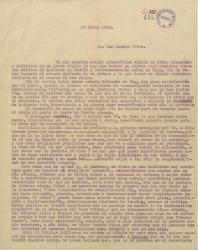 """Carta de Federico Romero a Amadeo Vives, hablando sobre varios temas teatrales y en particular y de forma extensa sobre los personajes de """"La villana"""" obra en la que están colaborando."""