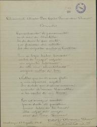 Brindis en verso dedicado a Carlos Fernández Shaw por Adolfo Álvarez.