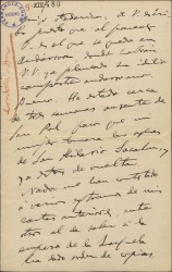 """Carta de Amadeo Vives a Federico Romero, diciéndole que tiene muy avanzado el trabajo para """"La villana"""" y que le parece muy acertado el título de """"El cardo de Escocia"""" para la obra que tienen en proyecto."""