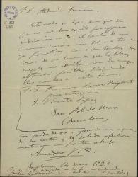 Carta de Amadeo Vives a Federico Romero, manifestando su impaciencia por no tener noticias suyas y enviándole unas señas donde pueden encontrarle o escribirle.